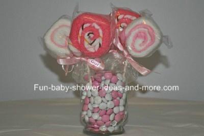 Washcloth lollipops! Awesome!