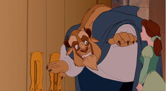 Things we loved about Beauty and the Beast.... OMG look at how adorably excited the Beast is in this image. He is biting his lip over it, lol.