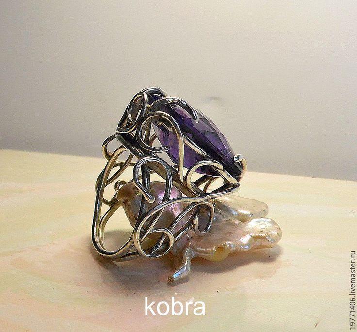 Купить кольцо АЛЕКСАНДРИТ - фиолетовый, кольцо ручной работы, кольцо, кольцо с камнем, кольцо из серебра