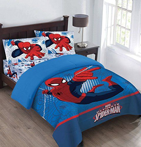 Marvel The Spiderman Webbed Wonder Twin Comforter Set with Fitted Sheet @ niftywarehouse.com #NiftyWarehouse #Spiderman #Marvel #ComicBooks #TheAvengers #Avengers #Comics