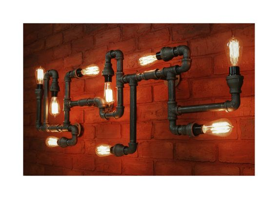 Large Industrial Ceiling Fixture Steampunk Pipe Light, Industrial kitchen bar light, Fireplace Pipe, Industrial Chandelier