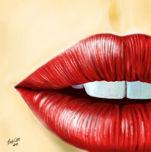 Red lips on Behance