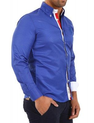 Camisa Carisma detalle logo university azul