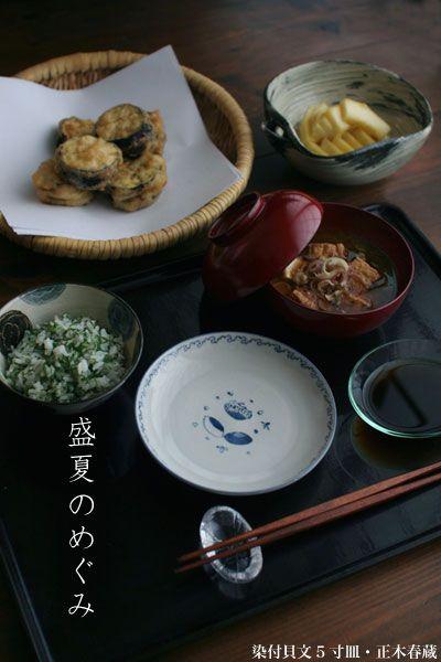 紫蘇ご飯、厚揚げ・茗荷の味噌汁、茄子のはさみ揚げ、糸うりの漬物