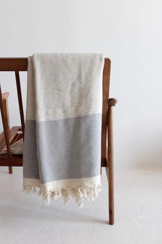 Grey Turkish Pestemal Cotton Throw