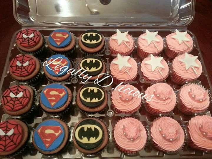 Superhero and princess cupcakes. Spider-Man, superman and batman.