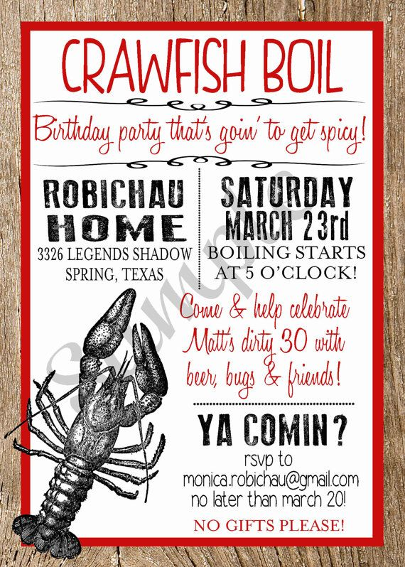 Crawfish Boil Custom Digital Invitation by Bubskiworks on Etsy