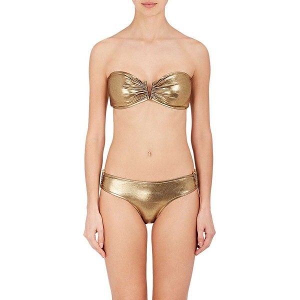 Milly Women's Elsie Bay Bandeau Bikini Top ($69) ❤ liked on Polyvore featuring swimwear, bikinis, bikini tops, gold, bandeau bikini tops, milly swimwear, milly bikini, gold metallic bikini and bandeau top bikini