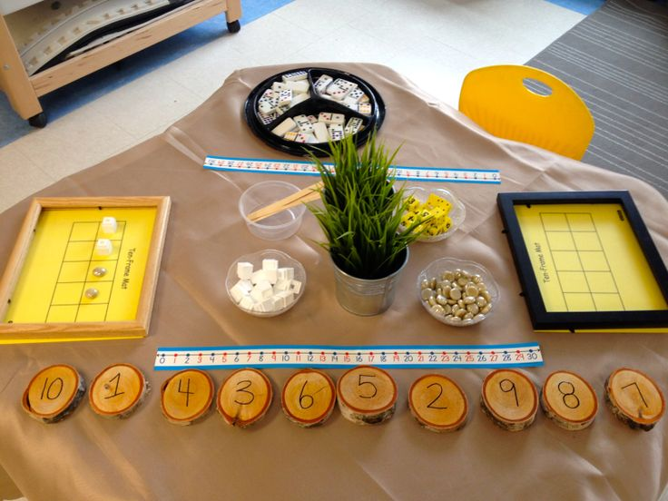 exploring numbers with loose parts, 10 frames and dominos