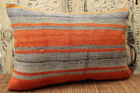 Stripe Lumbar Kilim pillow cover 16x24 inches by stripepattern
