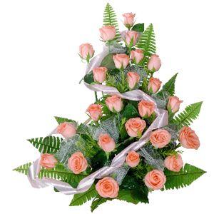 Arreglo de rosas color salmón (24 unid)