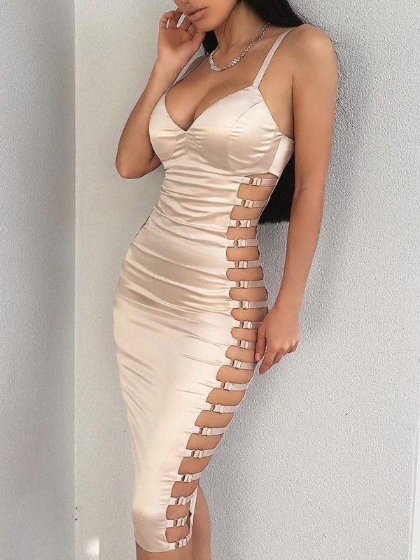 b8fdf64ad8a Ladder Cutout Deep V Bodycon Dress - Champagne