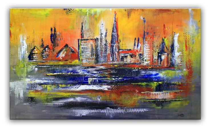 Ulm Stadtbild Stadtgemälde abstrakt - Münster, Galerie, Bücherei, Metzgerturm #stadtbilder #stadtgemälde #stadtmalerei #städtebilder #städtemalerei #stadt #städtebilder #abstraktstadt #skylineabstrakt #skylinegemälde
