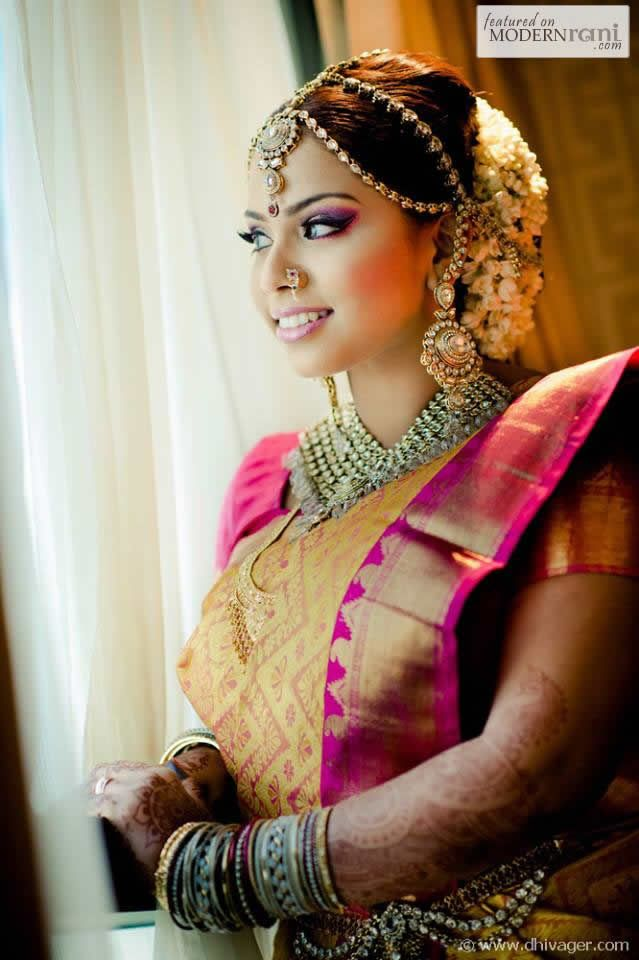 Tamil South Indian Asian Hindu Wedding Ceremony Silk Kanchipuram Saree Jewellery Jasmine - more inspiration @ http://www.ModernRani.com