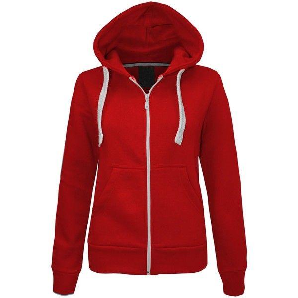 The Orange Tags LADIES PLAIN ZIP HOODIE SWEATSHIRT FLEECE HOODED... ❤ liked on Polyvore featuring tops, hoodies, red hoodie, zippered hooded sweatshirt, orange top, red zip hoodie and red hoodies