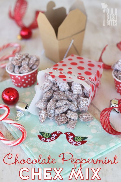 CANDY CANE MUDDY BUDDIES!  These are addicting, delicious, and perfect for gifting! (From ourbestbites.com)