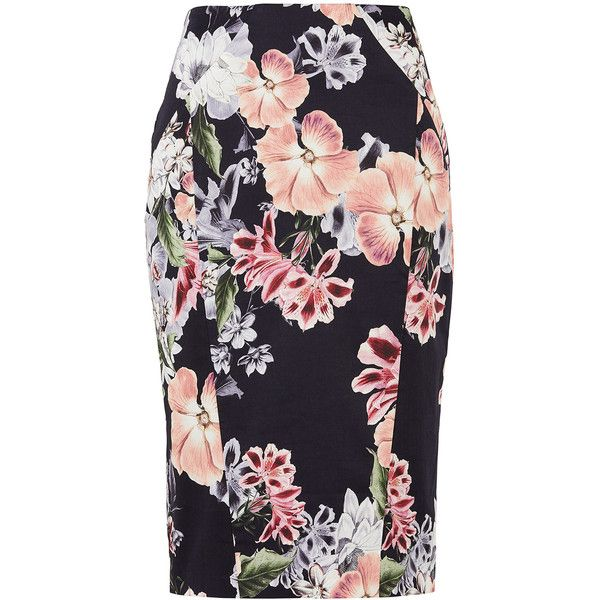The Insider Printed Skirt (960.690 IDR) ❤ liked on Polyvore featuring skirts, zipper pencil skirt, floral printed skirt, floral skirts, floral-print pencil skirts and pencil skirts