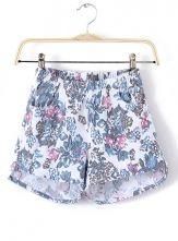 White Elastic Waist Purple Floral Shorts $23.77