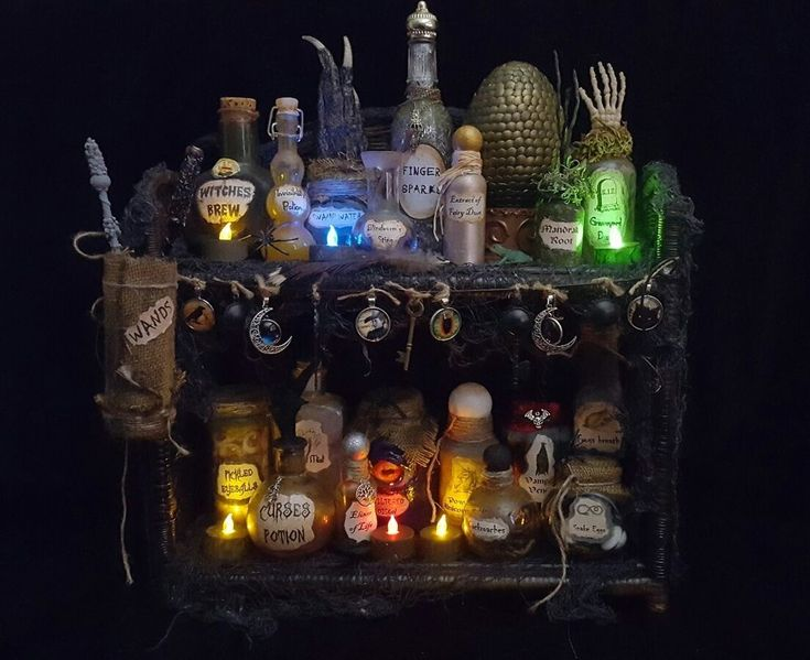 Witches Cabinet Apothecary Potion Bottles Halloween Decor Haunted House Props