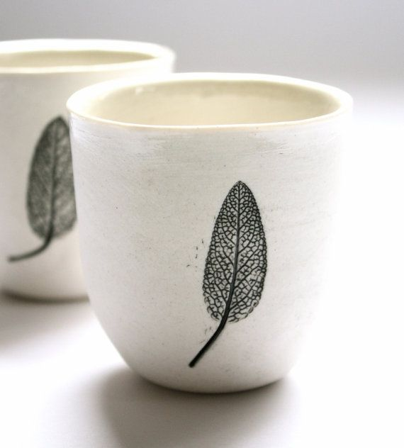 Sage leaf cups listing is for the pair by KanimblaClay on Etsy, $55.00