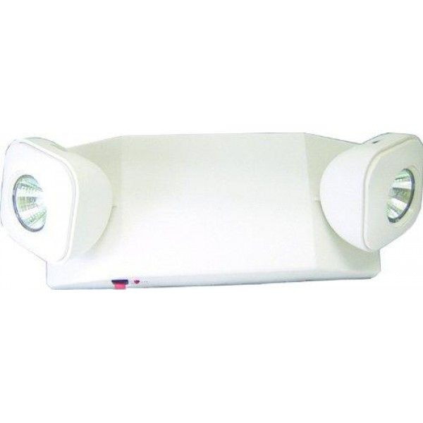 """THERMOPLASTIC EMERGENCY LIGHT, LOW PROFILE, WITH MR16 HALOGEN LAMP HEADS, 22W, 6V, WHITE HOUSING  FEATURES:- Utilizes MR-16 #halogen #lamps- UL listed for damp location- Completely self-contained- Fully automatic operation- Compact, low-profile design in neutral finishes- Universal mounting plate with EZ"""" Quick Connect for rapid, labor-saving installation..."""