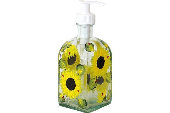 Dispensador de jabón de plato de botella de vidrio pintado a mano con bomba girasoles pintado vidrio pintado flores de dispensadores de jabón loción champú a mano