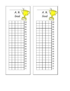 A.R. Goal Bookmarks  I would like to add the book level goal so they would strive to move up, and the 90% goal (which they could keep hopefully).