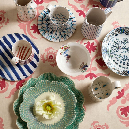 an eclectic mix of tableware