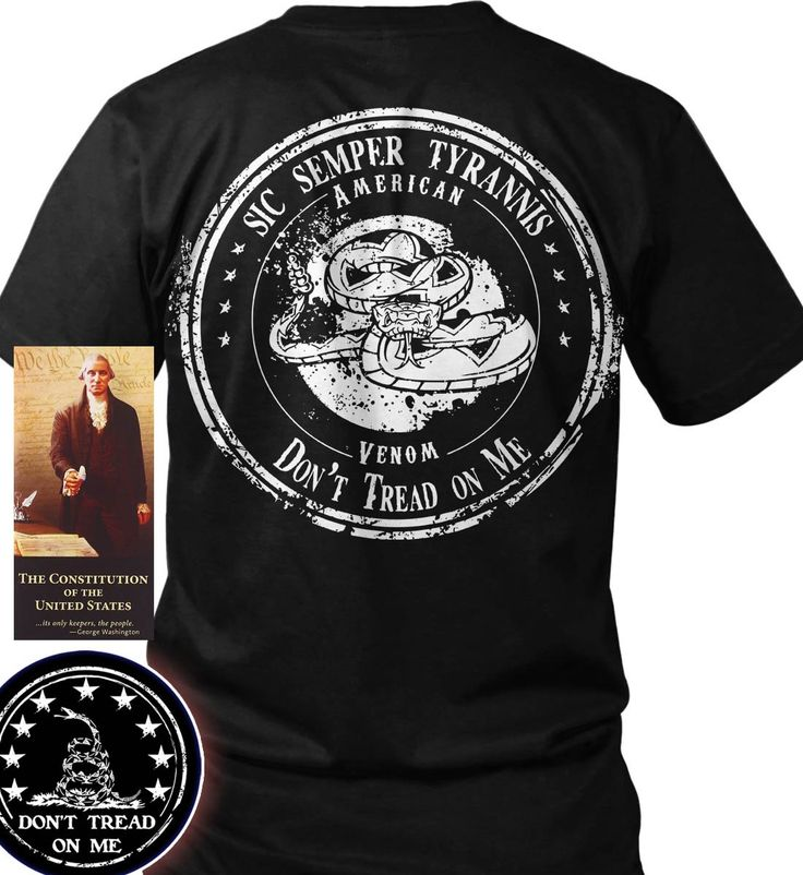 """Bundle of 3 items. Sic Semper Tyrannis - Don't Tread on Me Rattlesnake. Blac. Bundle of 3 items: T-shirt, Pocket Constitution & 4.5"""" decal. Official Sons of Liberty Tees® Gear. Made in the USA. Don't Tread on Me Apparel. Screen Printed on a Bayside Brand™ MADE IN AMERICA T-Shirt. 6.1 oz. 100% Pre-Shrunk American Made Cotton Tee. Premium Cotton Tee. Liberty, Second Amendment, and Patriot Apparel/T-Shirts - made by a small American owned business, by a couple of die hard patriots. Tee Shirt…"""
