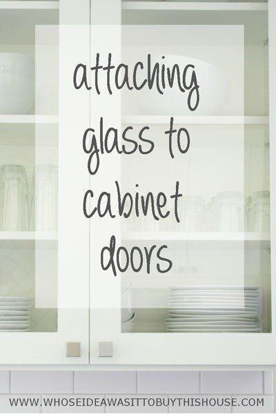 How to attach glass to kitchen cabinet doors. One more step crossed off the list for our DIY kitchen renovation!