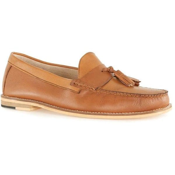 TOPMAN Tan Leather Embossed Tassel Loafers ($65) ❤ liked on Polyvore featuring men's fashion, men's shoes, men's loafers, brown, mens leopard print shoes, mens brown loafer shoes, mens tan shoes, mens brown leather shoes and mens brown shoes