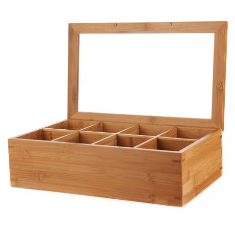 TEABAG BOX With 8 Sections Bamboo 36x19.8x9cm | Wheel&Barrow