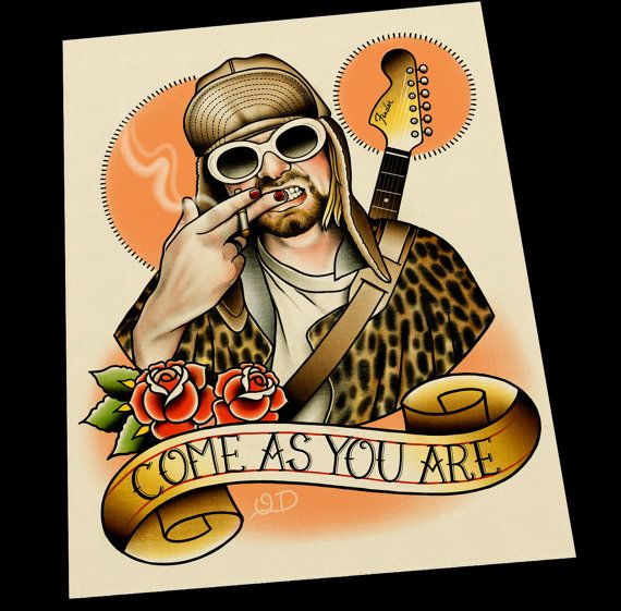 Kurt Cobain Tattoo Flash Art Print by ParlorTattooPrints on Etsy