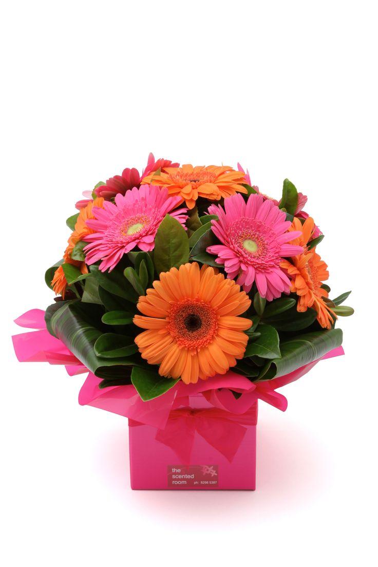 Box of orange & pink gerberas.