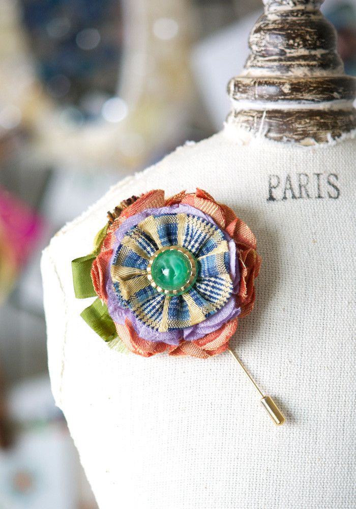 Colorful Lapel Flower Pin with Vintage Glass Button