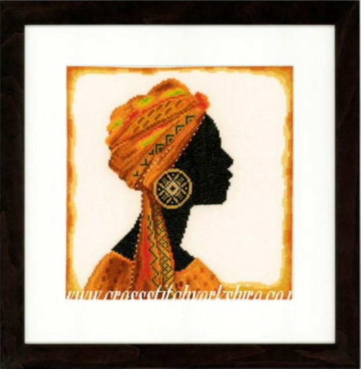 Silhouette African Woman 1 cross stitch kit Lanarte.