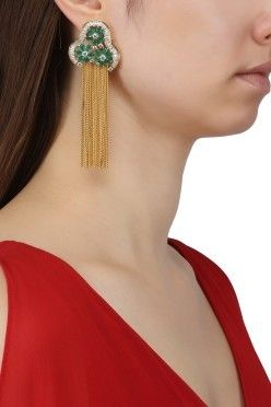 ee5b2f4d5 AURAA TRENDS Gold Plated American Diamond, Green Stones and Chain Tassel  Earrings