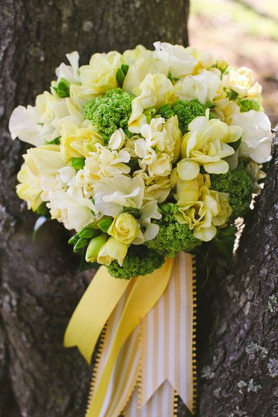 Green White Yellow Bouquet Spring Sweet Pea Tulip Wedding Flowers Photos & Pictures - WeddingWire.com