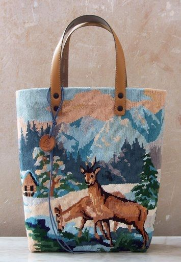 upcycled needlepoint bag