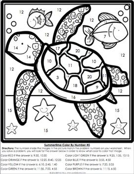 2nd Grade End of the Year Math Review {Color by Number
