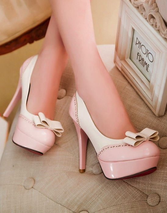 Adorable Pink Bow High Heel Shoes