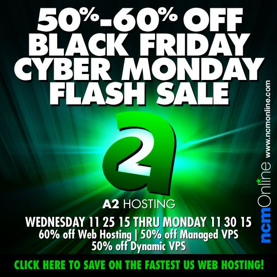 Rated as the Best Web Host of 2015, and the Fastest U.S. Web Host by NCM Online, A2 Hosting is offering an incredible 60% off shared web hosting plans. But the savings don't end there. You can now save 50% on Dynamic VPS plans and get 50% off Managed VPS plans with the coupon codes above.