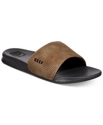 Reef Men/'s One Slide Sliders Beach Flip Flops Sandals Slip On Black New