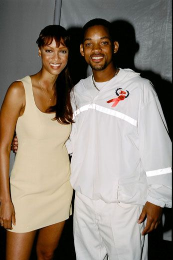 "Tyra Banks and Will Smith...""Tyra Banks was one of Will Smith's original leading ladies. In the 90s she made her acting debut guest starring on The Fresh Prince Of Bel-Air as Jackie, Smith's love interest. Their romance quickly moved off screen, although it was short lived."""