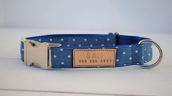 Denim polka dot dog collar, denim dog collar, blue polka dot dog collar, blue dog collar, dog collar personalized, dog collar for boys
