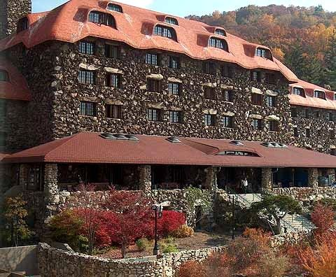 Grove Park Inn, Asheville, NC. Eight presidents have stayed here. President Obama and Miss is Obama have come back to visit three times sense campaigning here just for vacation.
