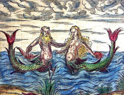 Medieval bestiary engraving of merman and mermaid