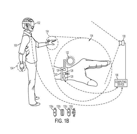 """Sony files patent for glove-style VR controller  Sony  has filed a patent for a touch- and motion-sensitive virtual reality controller with a glove-like form factor.         The controller works in concert with a VR headset and features a PlayStation Move-esque trackable light mounted to the user's wrist, as well as sensors that can detect finger flexure and contact with objects.   It also includes """"at least one inertial sensor for generating inertial sensor data,"""" which brings it in.."""