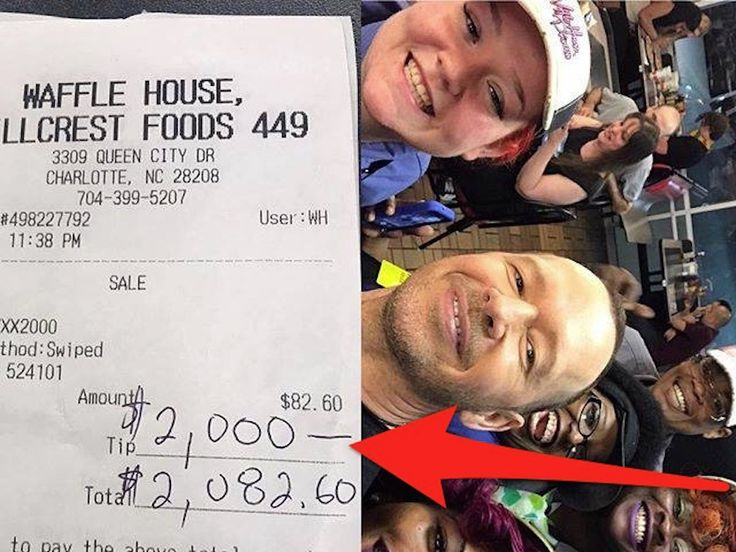 """New Kids on the Block star Donnie Wahlberg left a $2,000 tip at Waffle House after being treated 'like a king' - Waffle House is known for itsdelicious food — and low prices. So, when a celebrity leaves a $2,000 tip, it's a big deal.  Early Thursday morning, Donnie Wahlberg, a founding member of New Kids on the Block and a current star of """"Blue Bloods,"""" posted a photo on Facebook that showed a Waffle House receipt with a $2,000 tip.  """"My mom waited tables, and my dad tended bars — for…"""