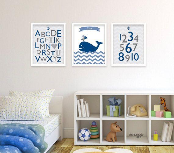 Nautical Nursery Whale ABC print Alphabet I love you Numbers Navy grey by MossyJojo